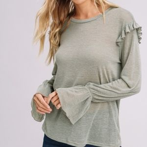 Olive Long Sleeve Top, Ruffle Detail NEW